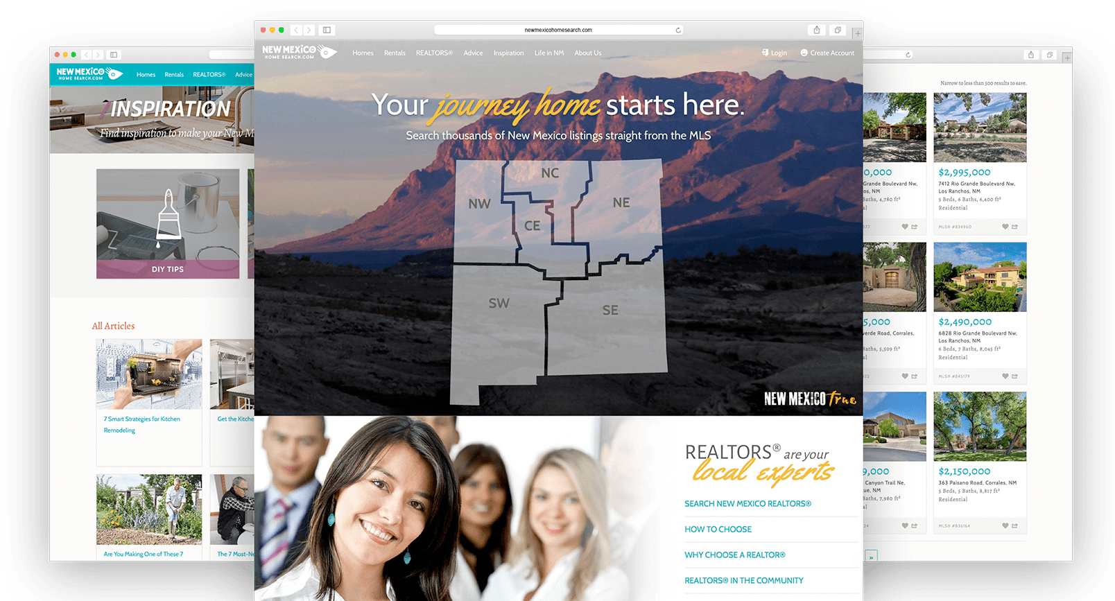 Screenshots of NewMexicoHomeSearch.com