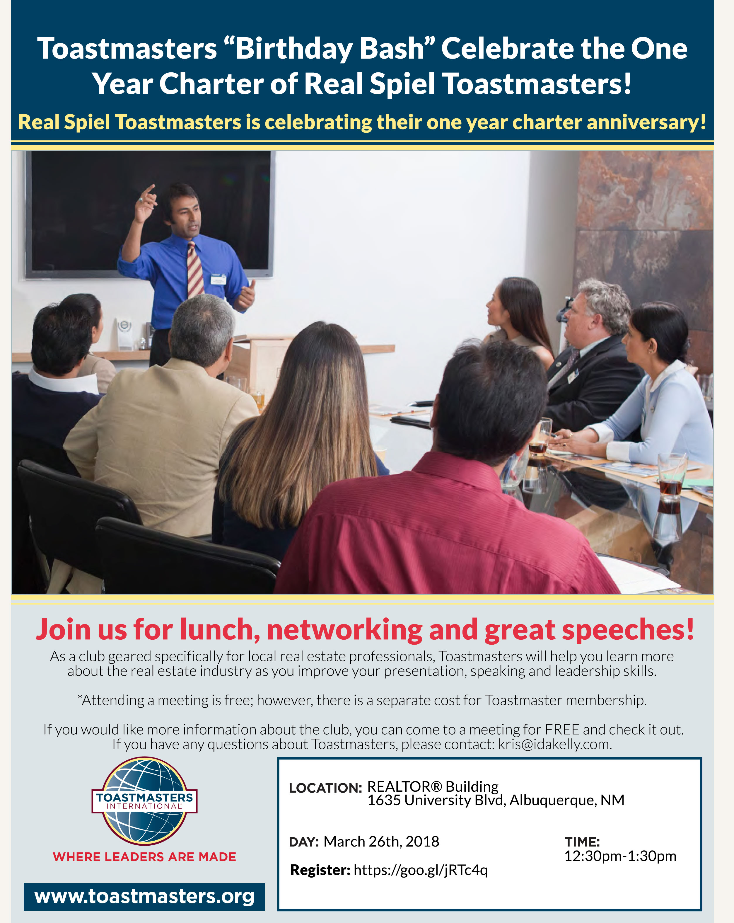 You Are Invited to the Toastmasters 1-year Birthday Bash!