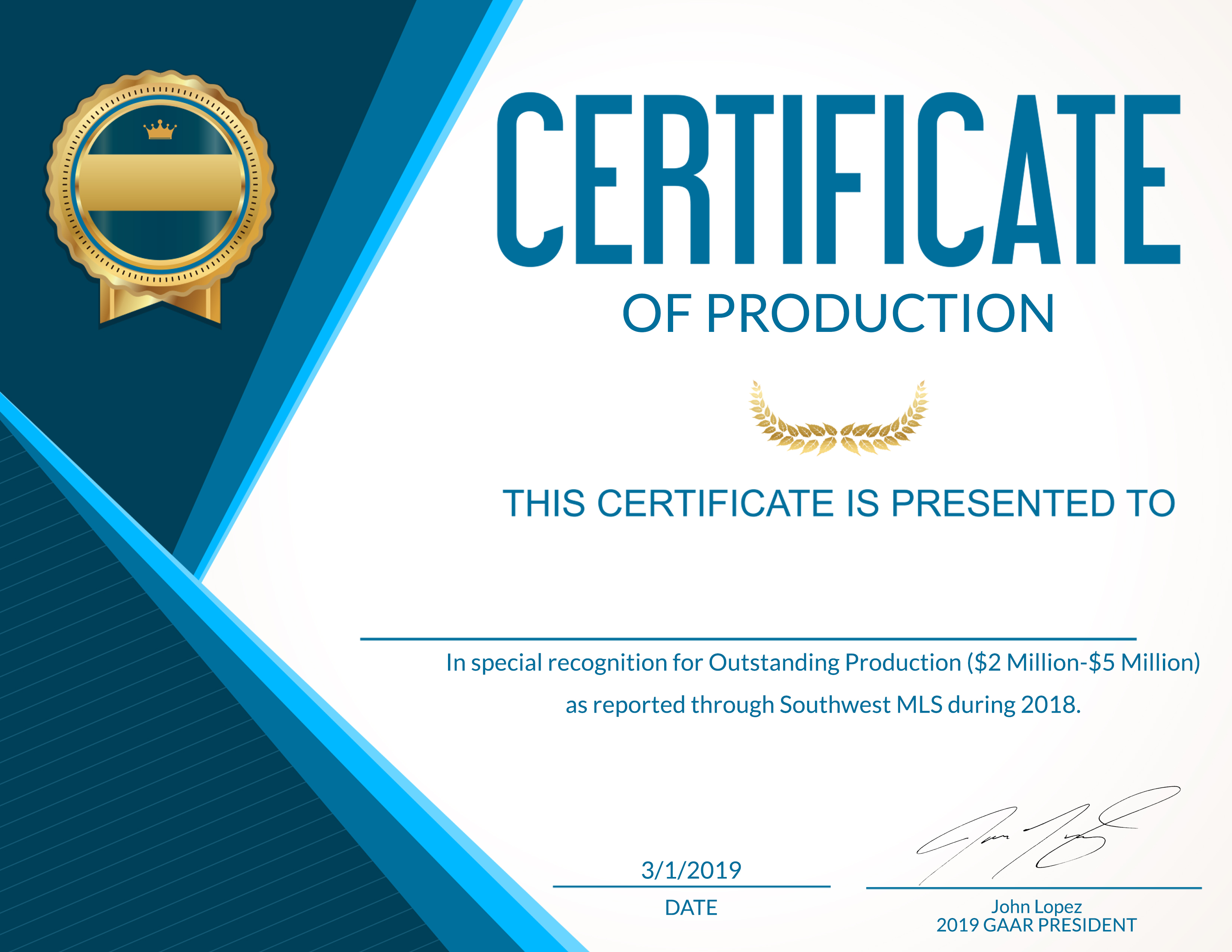 Order your Certificate of Production for 2018