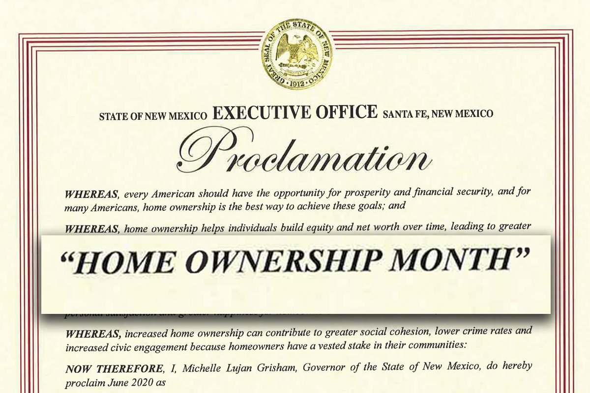 "Governor proclaims June as ""Home Ownership Month"""