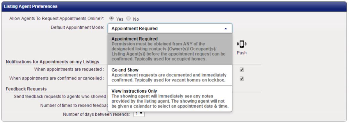 ShowingTime: Listing Agent Preferences