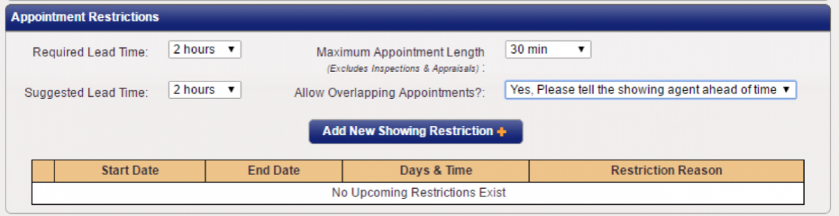 ShowingTime: Appointment Restrictions